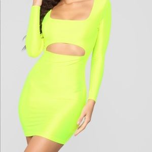 Long sleeve neon cut out bodycon dress